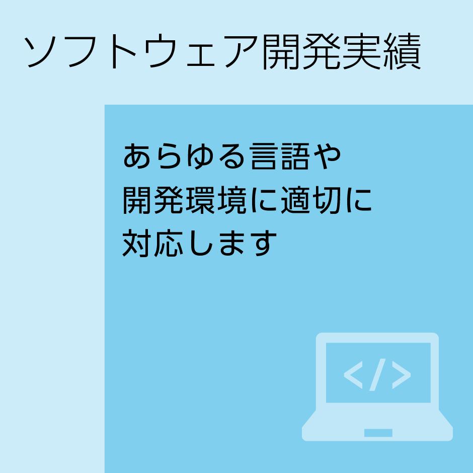 ソフトウェア開発実績 あらゆる言語や開発環境に適切に対応します