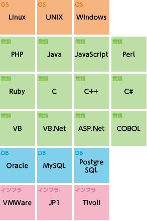 Linux、UNIX、Windows、PHP、Java、JavaScript、Perl、Ruby、C、C++、C#、VB、VB.Net、ASP.Net、COBOL、Oracle、MySQL、PostgreSQL、VMWare、JP1、Tivoll