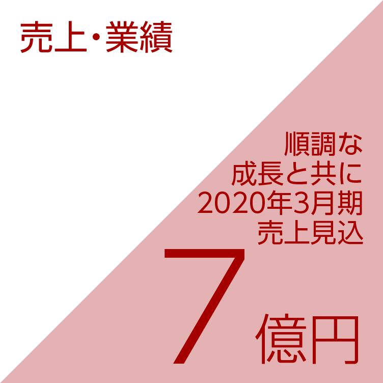 売上・業績/順調な成長と共に2020年3月期売上見込7億円